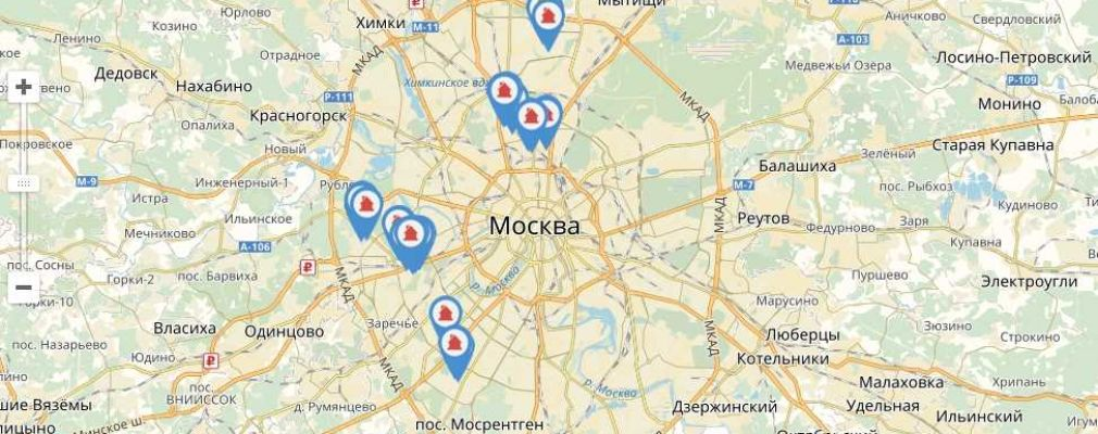 Карта домов, участвующих в реновации, и стартовых площадок